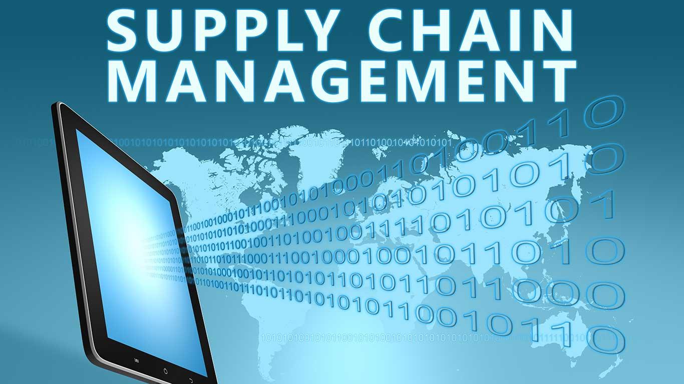 """Grafik mit einem Tablet drauf, worauf steht: """"Supply Chain Management"""""""