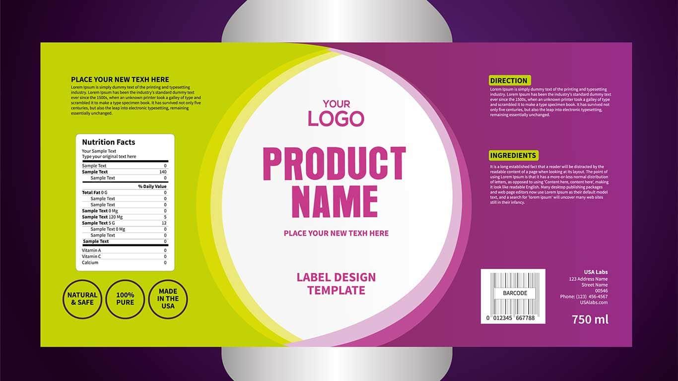 Design der Paketvorlage, Design der Beschriftung, Muster der Design-Etikettenvorlage