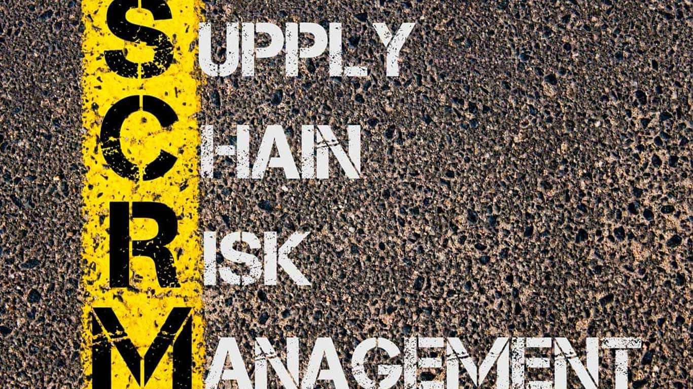Concept image of Business Acronym SCRM as Supply Chain Risk Management written over road marking yellow paint line.