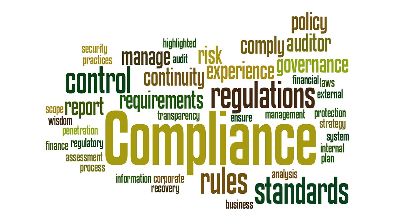 Compliance, word cloud concept on white background.
